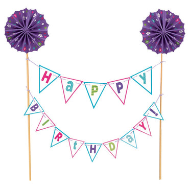 Happy Birthday Purple Cake Picks Banner