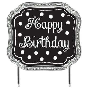 Black Plastic Happy Birthday Cake Topper
