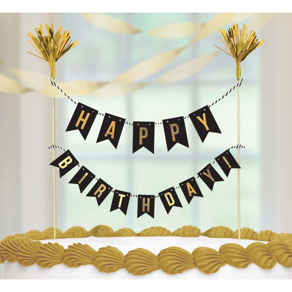 Premium Gold Happy Birthday Cake Pick Hot Stamped