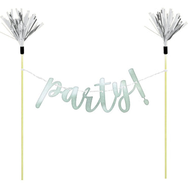 Cake Banner Topper party! Silver Foil & Wooden Picks
