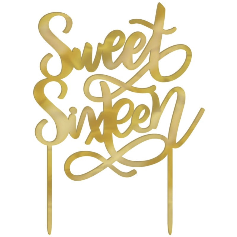 Elegant Sweet Sixteen Blush Gold Cake Topper 12cm x 16cm - Party Savers