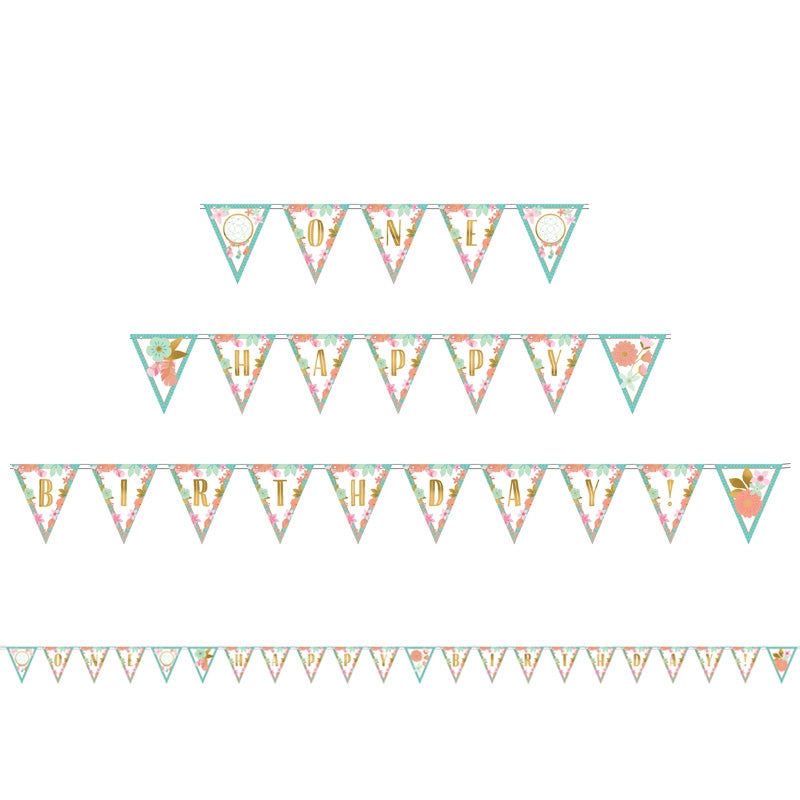 Boho Birthday Girl Pennant Banner - Party Savers