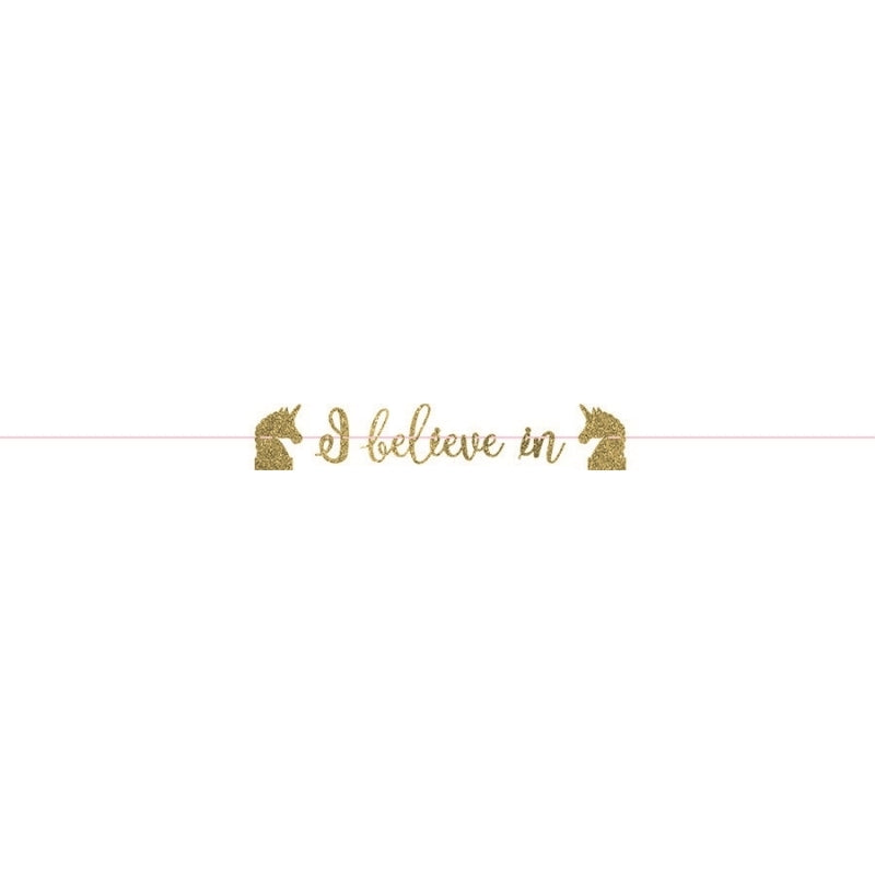 Magical Unicorn Gold Ribbon Letter Banner - Glitter Paper - Party Savers