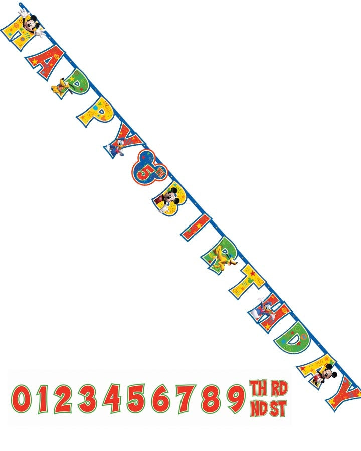 Mickey and Friends Jumbo Add-An-Age Banner - Party Savers