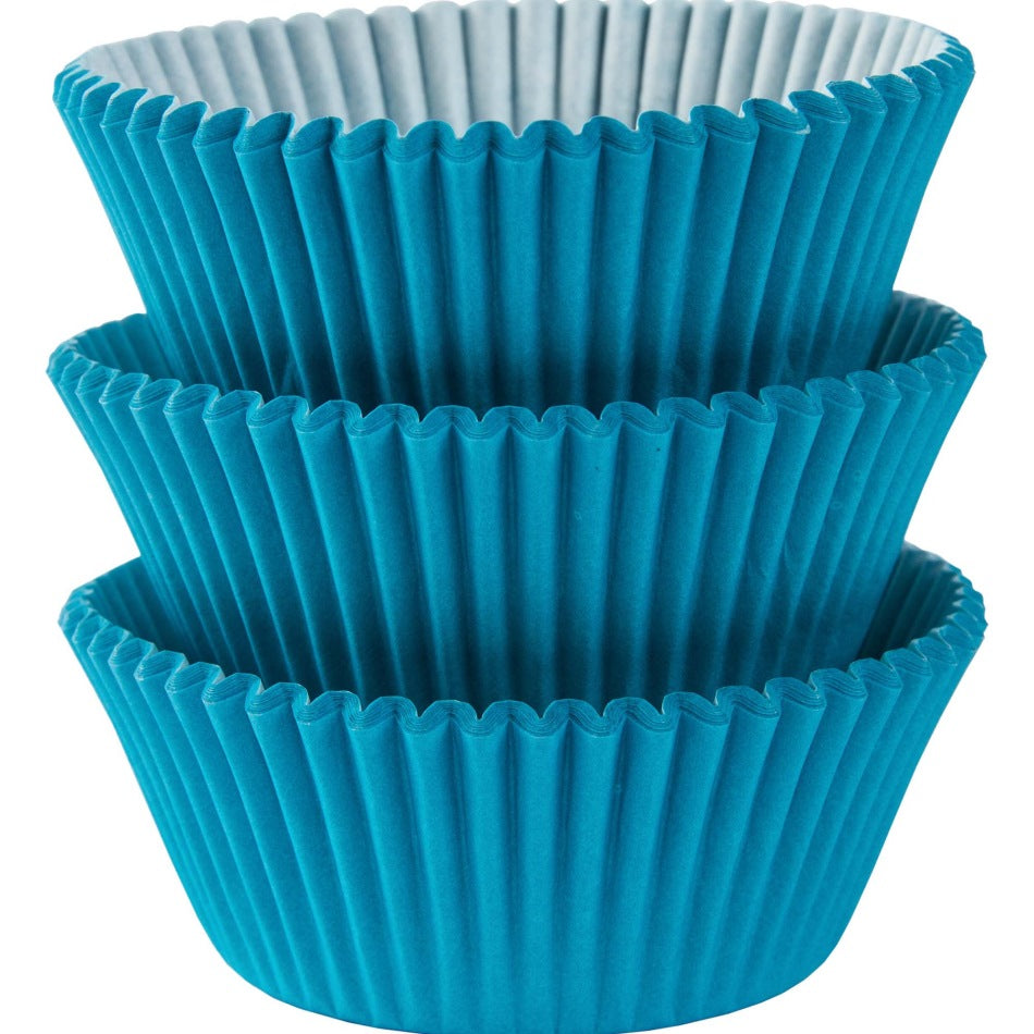 Caribbean Blue Mini Cupcake Cases 100pk
