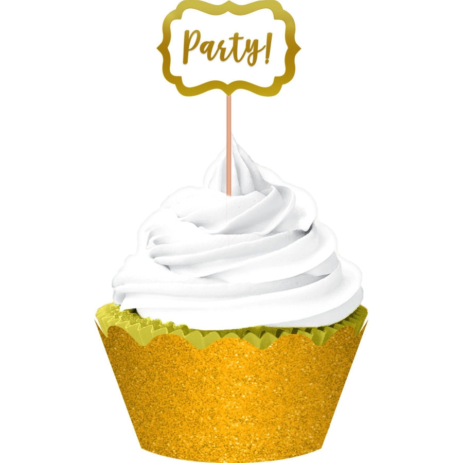 Gold Hot Stamp & Glitter Foil Cupcake Kit  24pk - Party Savers