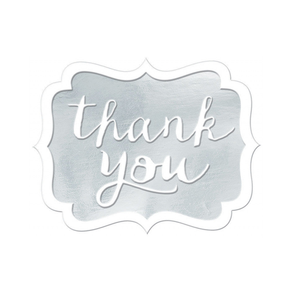 White Thank You Stickers 50pk