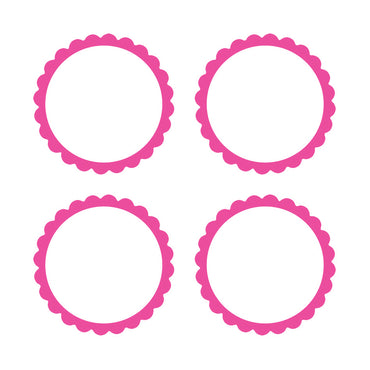 Bright Pink Scalloped Labels 5pk
