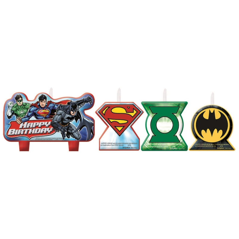 Justice League Birthday Candle Set 4pk