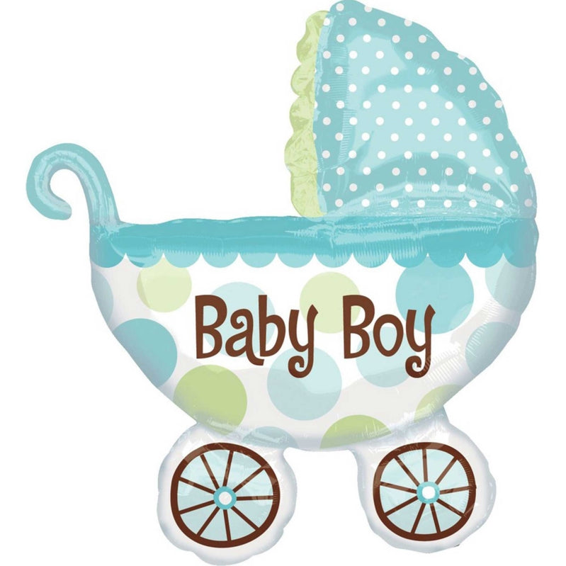 Baby Buggy Boy SuperShape Foil Balloon 71cm x 79cm - Party Savers