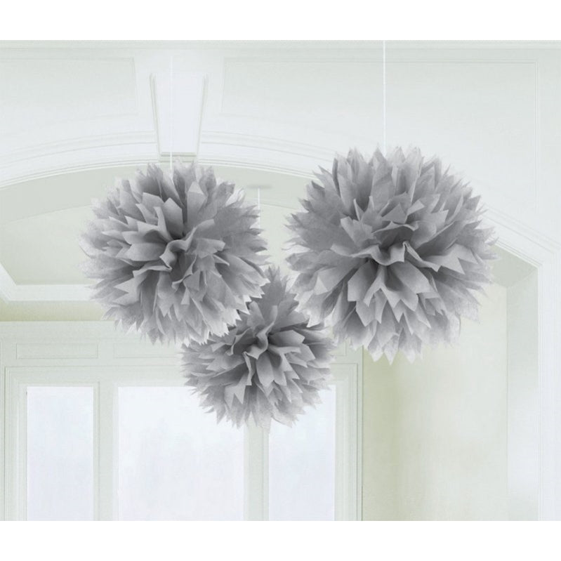 Fluffy Tissue Decorations - Silver 16in 3pk