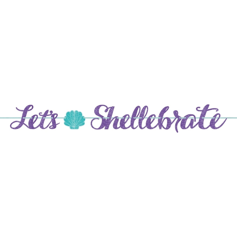 Mermaid Wishes Glitter Ribbon Letter Banner Let's Shellebrate - Party Savers