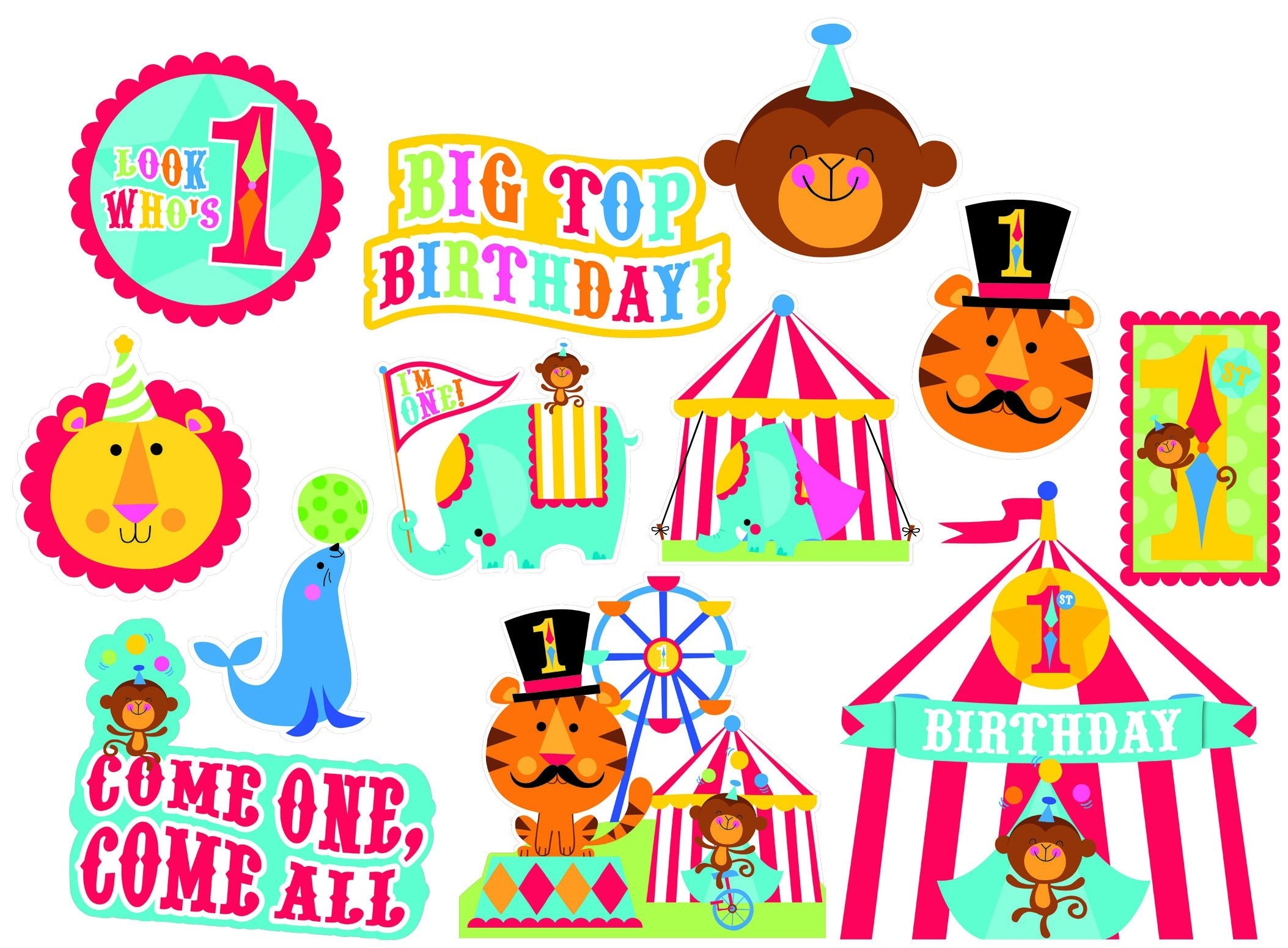 Fisher Price 1st Birthday Circus Value Pack Printed Paper Cardboard Cutouts 12pk