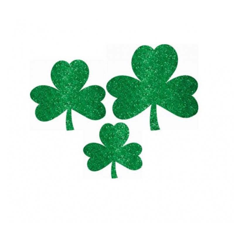 St Patricks Day Mini Assorted Glittered Shamrocks Cutouts 10pk - Party Savers