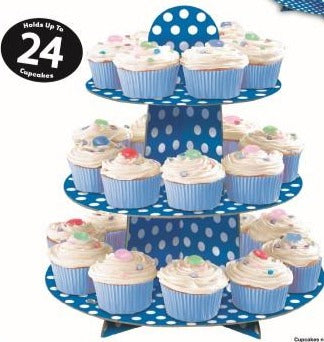 Royal Blue Dotty Cupcake Stand - Party Savers