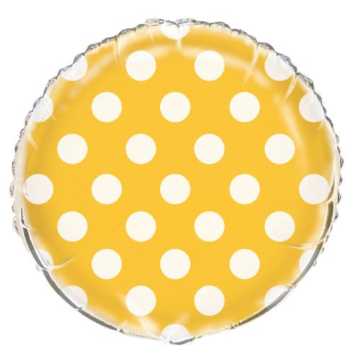 Yellow Dots Round Foil Balloon 45cm - Party Savers