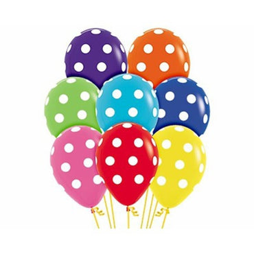 Assorted Polka Dots Latex Balloons 30cm 12pk - Party Savers