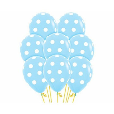 Blue Latex Polka Dots Latex Balloons 30cm 12pk - Party Savers