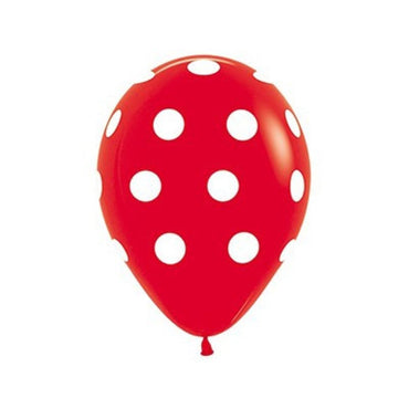 Red Polka Dots Latex Balloons 30cm 12pk - Party Savers