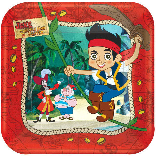 Jake and The Neverland Pirates Square Plates 17.8 cm 8pk - Party Savers