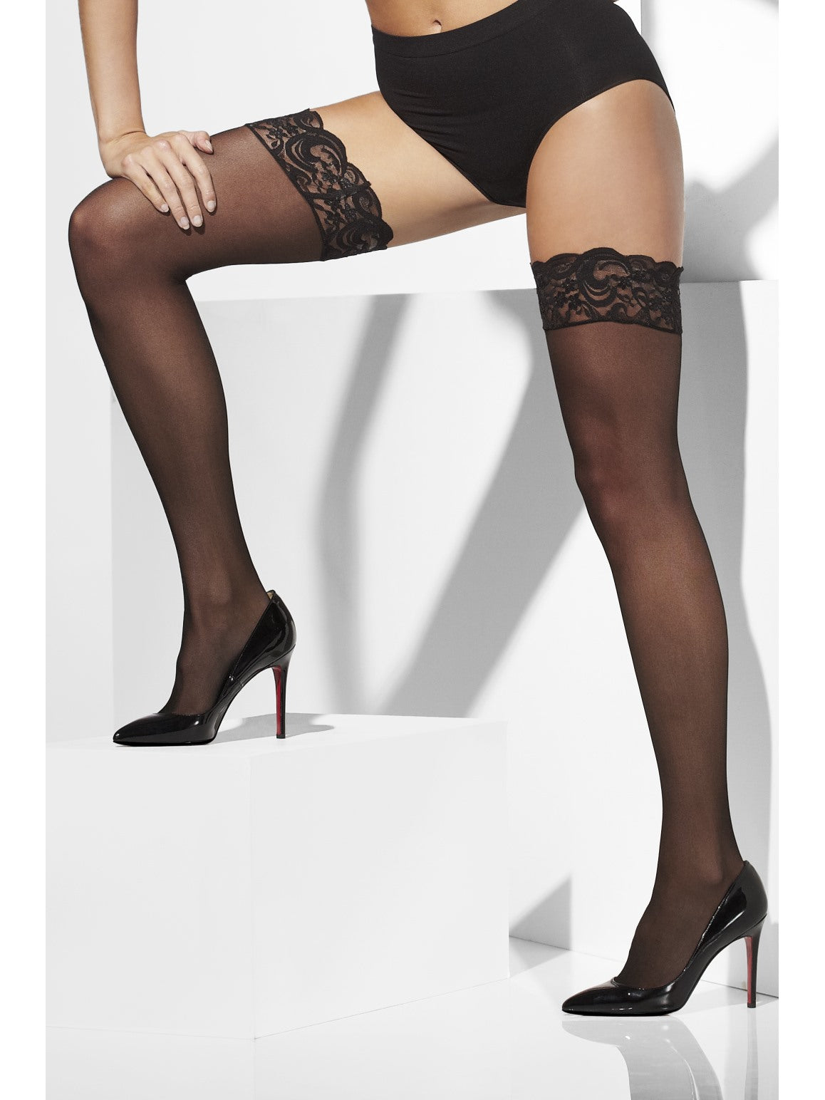 Black Lace Tops Sheer Hold-Ups - Party Savers