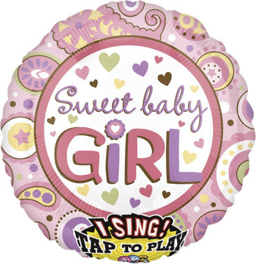 Sweet Baby Girl Sing-A-Tune Self Sealing Foil Balloon 71cm