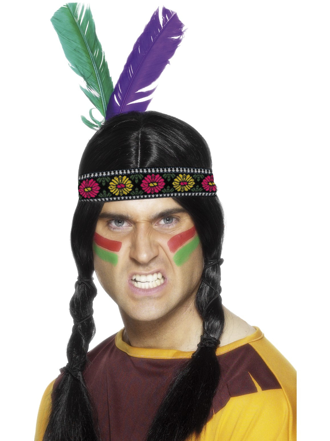 Multi Coloured Native American Inspired Feathered Headband - Party Savers