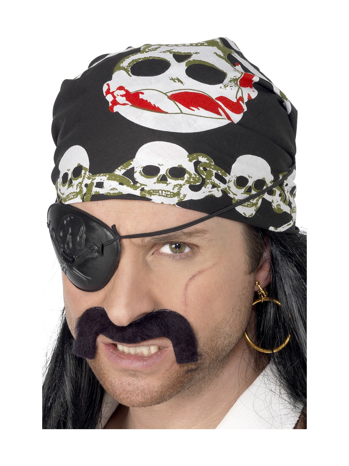 Black Skull and Crossbones Pirate Bandana - Party Savers