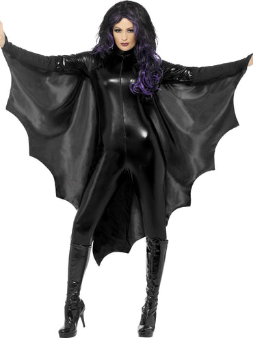 Black Vampire Bat Wings With High Collar