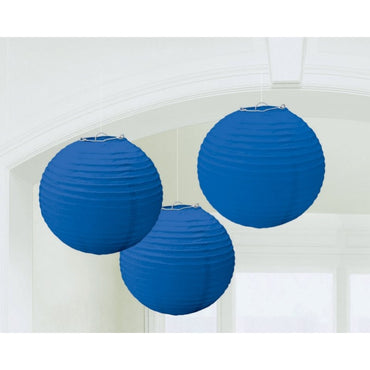 Round Paper Lanterns - Bright Royal Blue 3pk