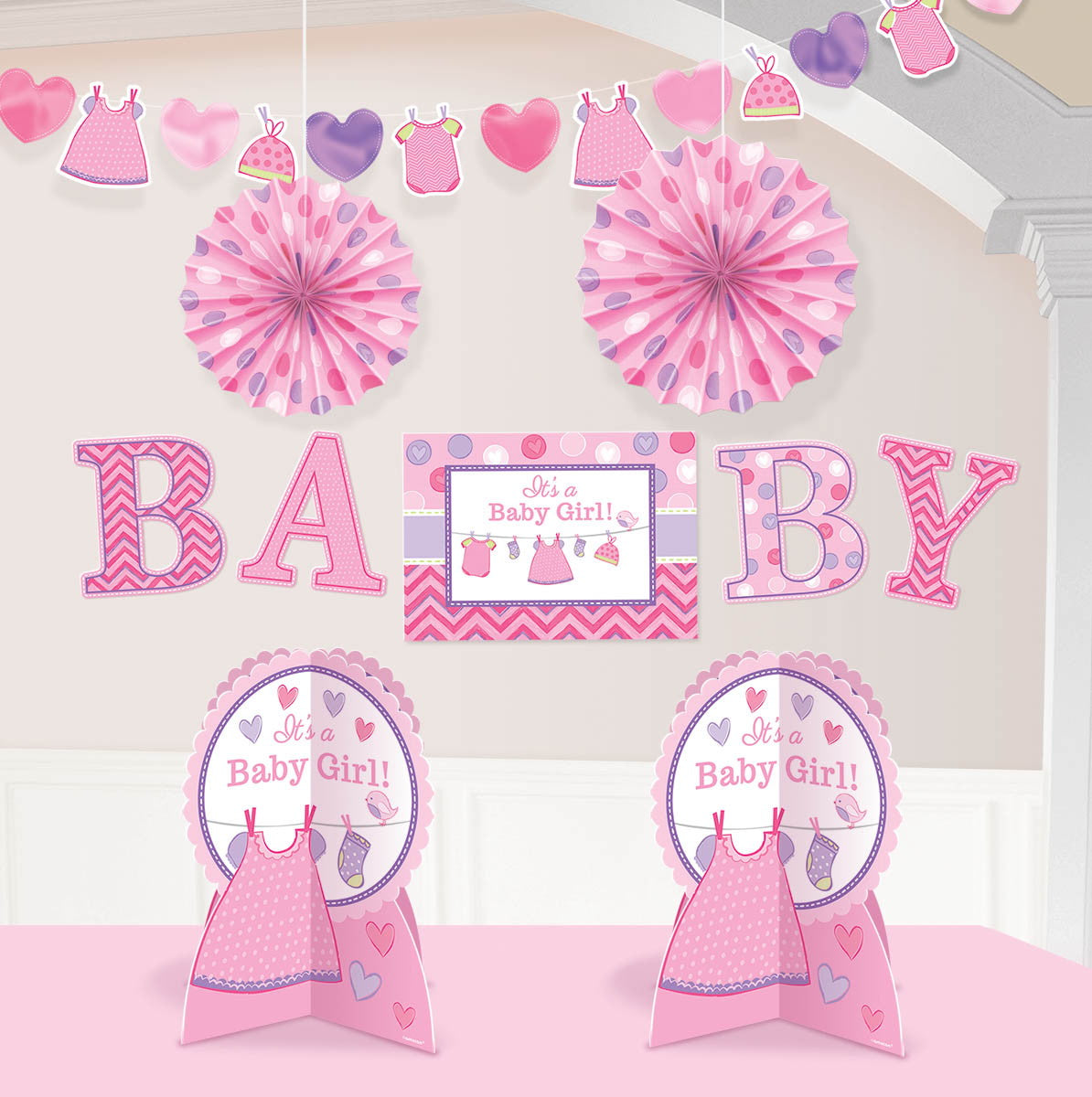 Shower with Love Girl Room Decorating Kit - Party Savers