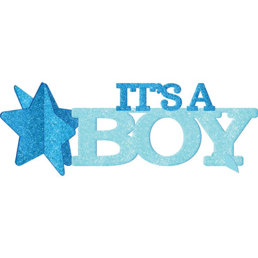 Baby Shower Blue Glittered Centerpiece It's A Boy