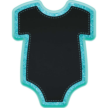 Baby Boy Bodysuit Shaped MDF Glittered Easel
