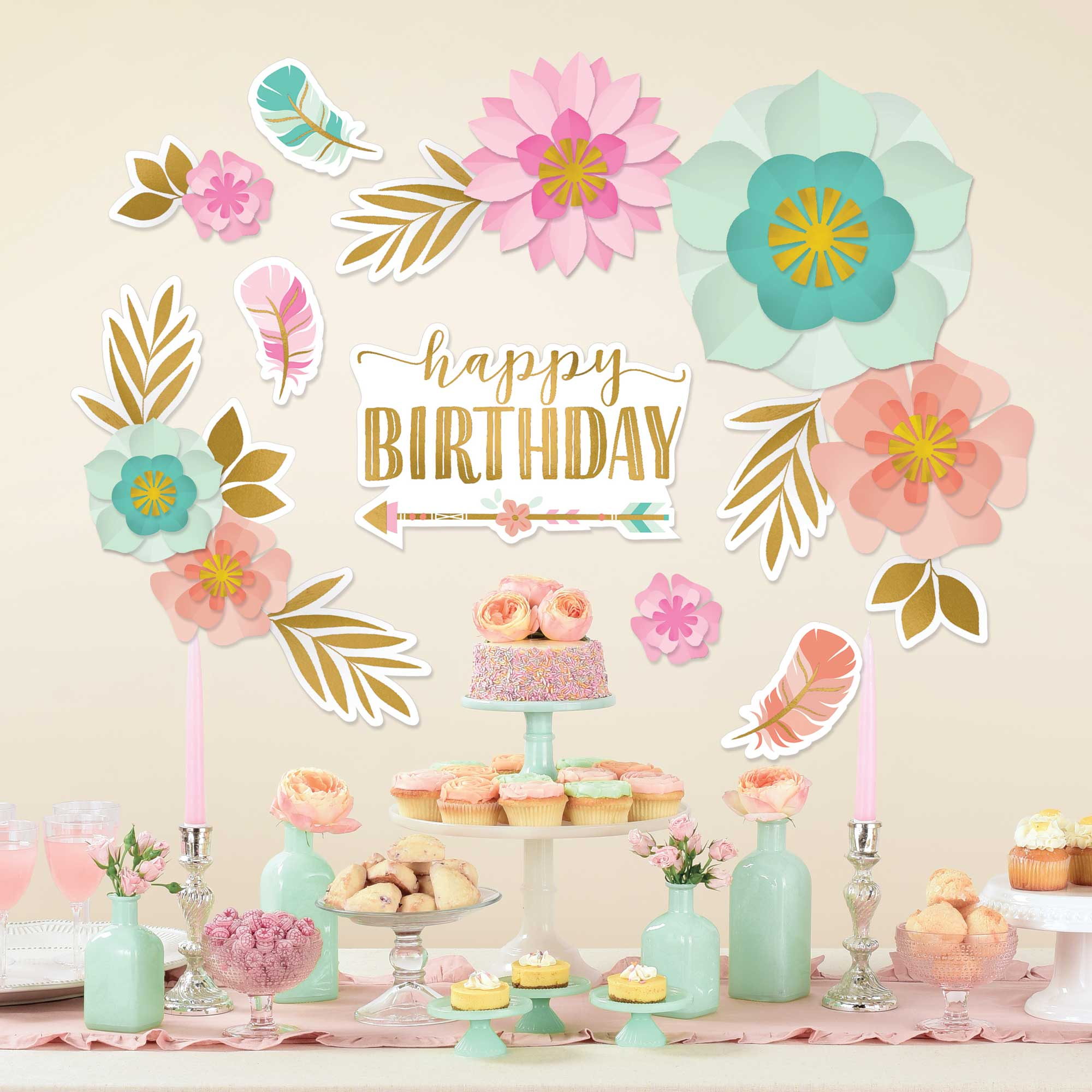 Boho Birthday Girl Backdrop Wall Decorating Kit - Party Savers