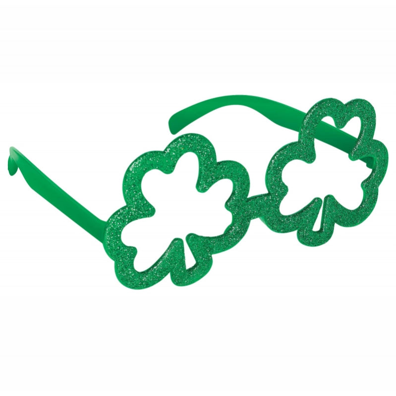 St Patricks Day Shamrock Shaped Glittered Glasses Each - Party Savers