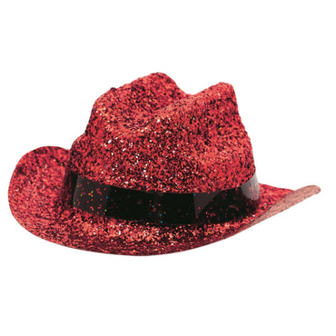 Red Mini Glitter Cowboy Hat - Party Savers
