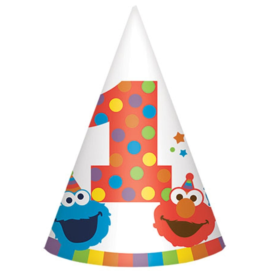 Elmo Turns One Cone Hat 8pk - Party Savers