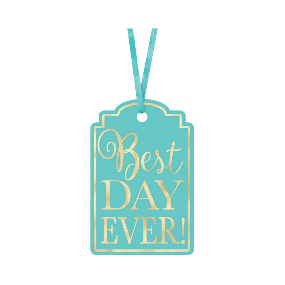 Robin Egg Blue Best Day Ever Tags 25pk - Party Savers