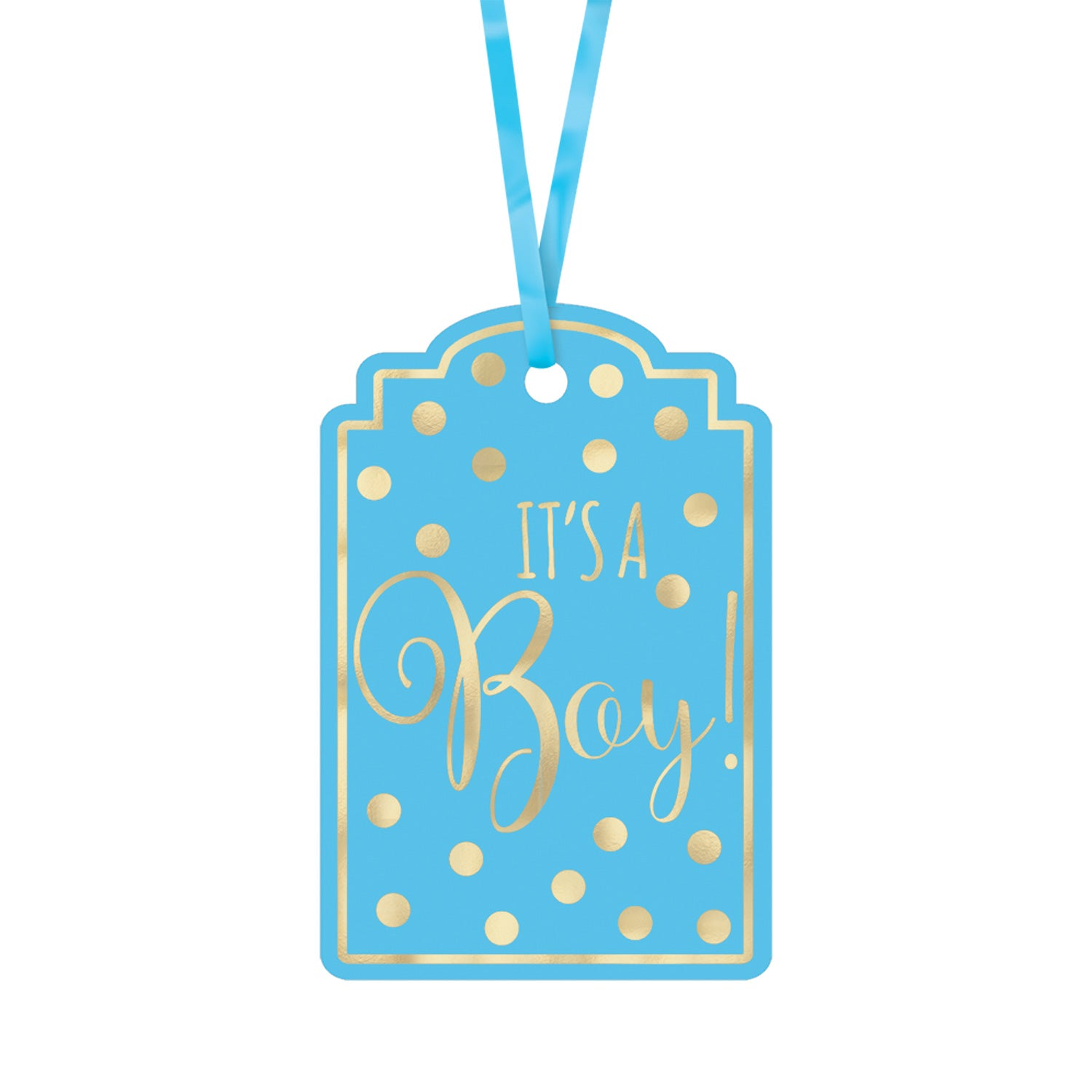 Blue Foil Stamped Paper Tags 25pk