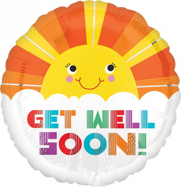 Smiley Sunshine Get Well Soon Foil Balloon 45cm