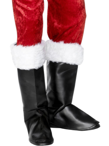 Black Santa Boot Covers - Party Saver