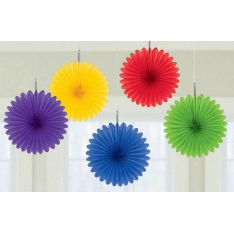 Rainbow Mini Fan Decorations 6in 5pk - Party Savers
