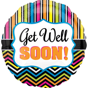 Get Well Stripe and Chevron Foil Balloon 45cm