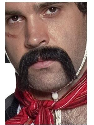 Black Authentic Western Mexican Handlebar Moustache