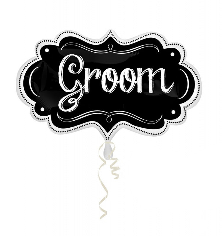 Groom Charlkboard Marquee SuperShape 40cm x 68cm Each - Party Savers