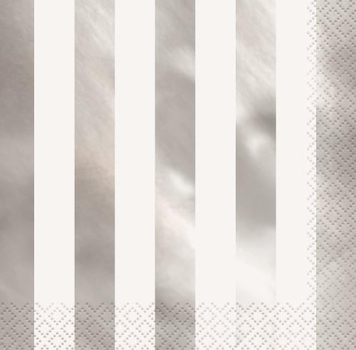 Silver Foil Stamped Stripes Lunch Napkins 16pk
