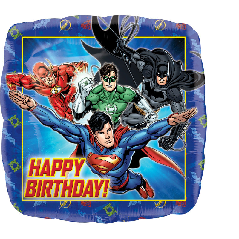 Justice League Happy Birthday Foil Balloon 45cm - Party Savers