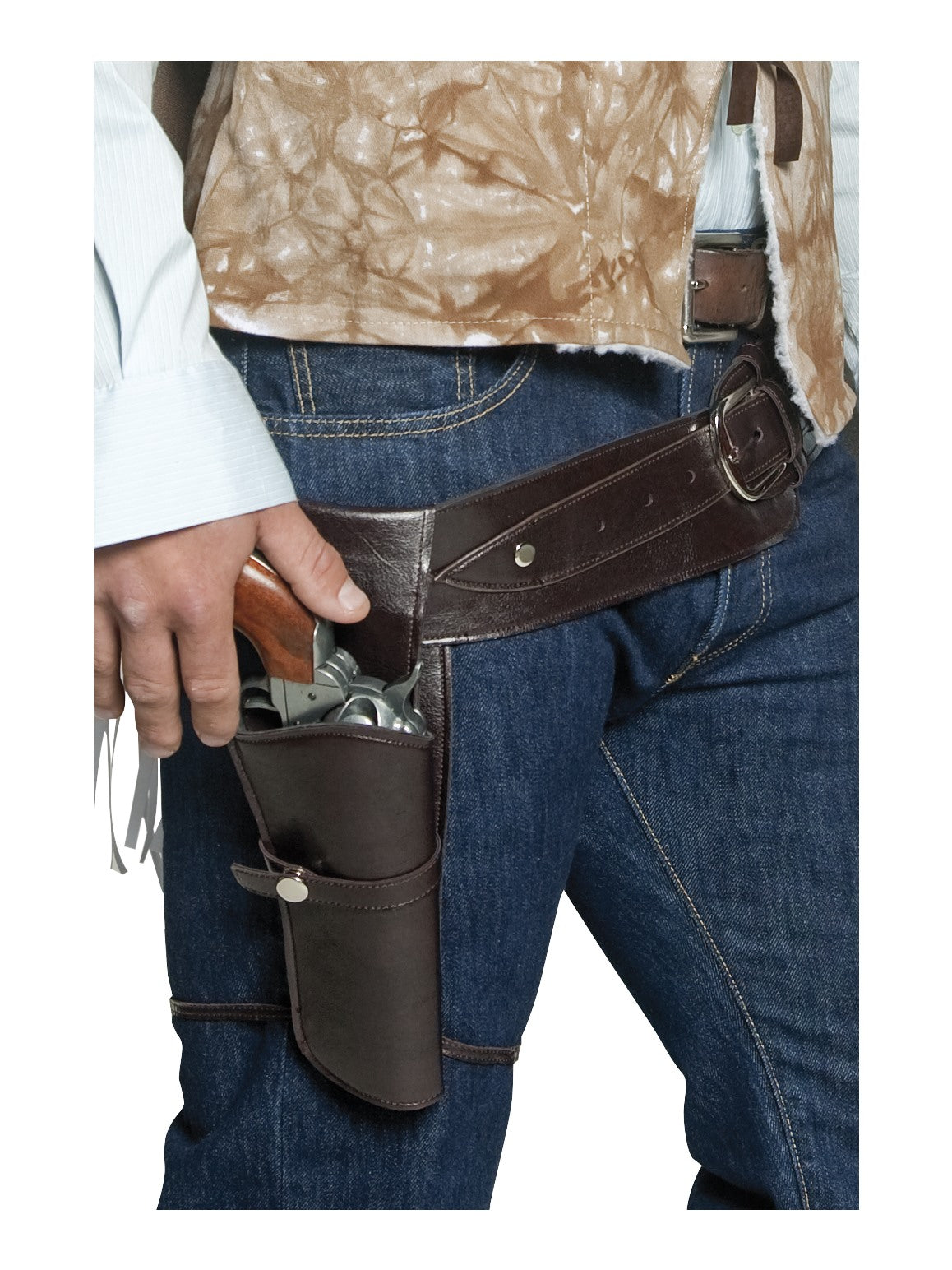 Brown Authentic Western Wandering Gunman Belt & Holster - Party Savers