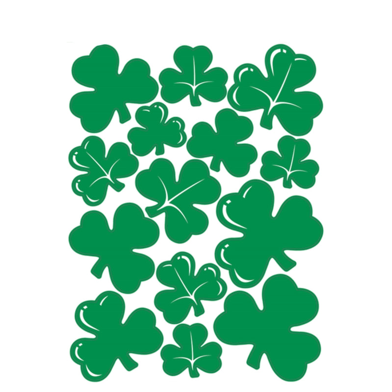 Shamrock Clings 12in x 17in 14pk - Party Savers
