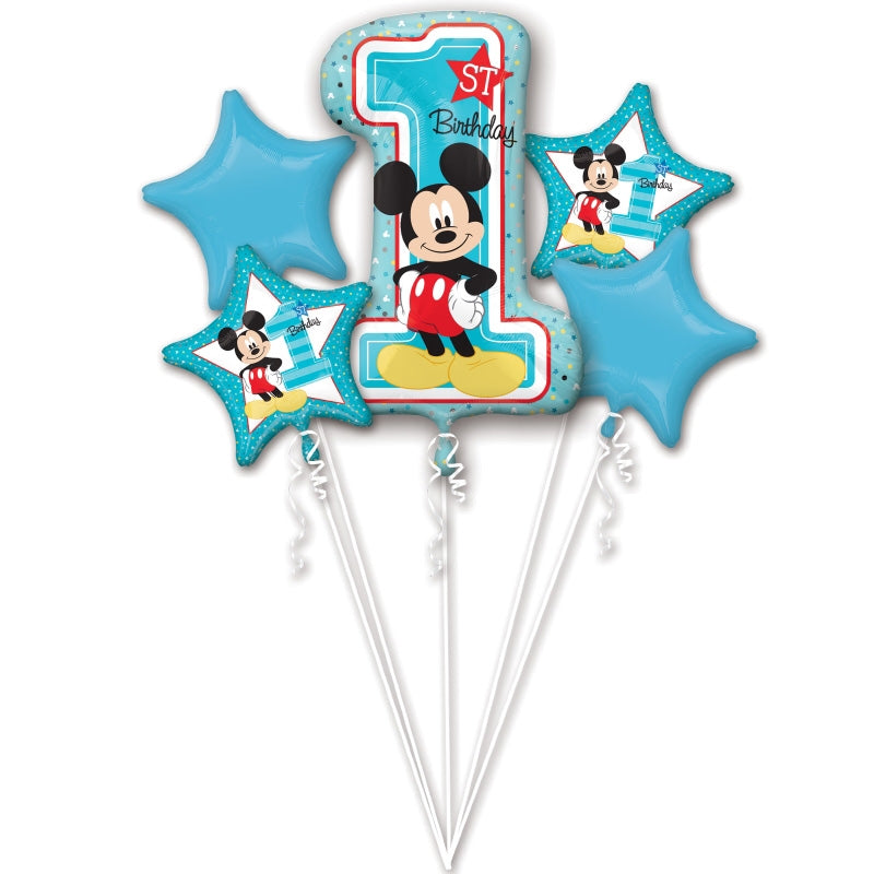 Mickey Mouse 1st Birthday Foil Balloon Bouquet 5pk - Party Savers